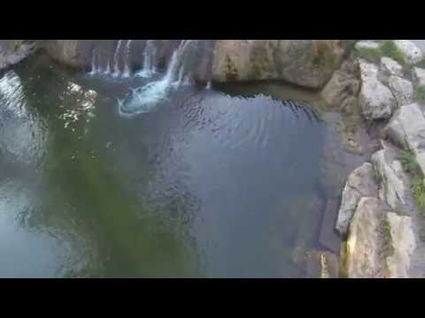 Aerial video of Chickasaw National Recreation Area in Sulphur,OK