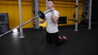 Fixed Barbell kneeling alternating shoulder press