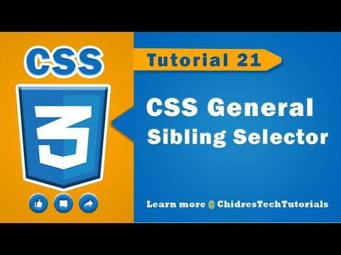 CSS videotutorial - 21 - General sibling selector in css | tilde