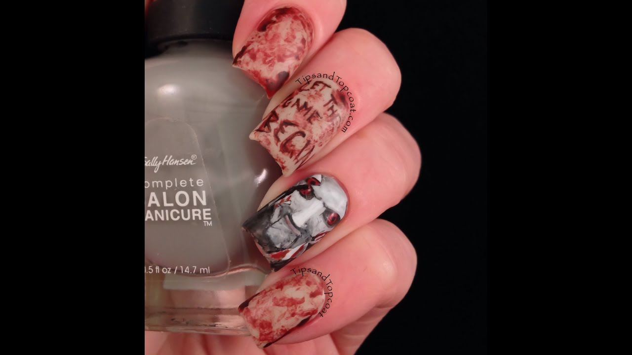 Real style blood splatter halloween nail art tutorial youtube prinsesfo Choice Image