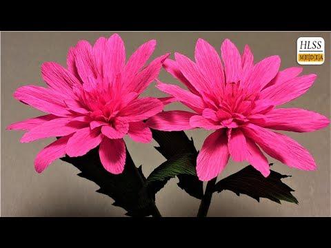 How to make dahlia paper flower| diy dahlia crepe paper flower making tutorials| paper crafts
