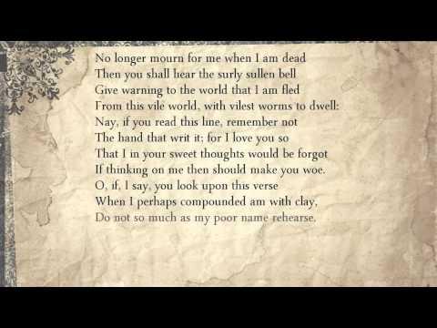 Sonnet 71: No longer mourn for me when I am dead