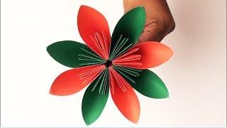 How to make paper flowers | Easy origami flower | কাগজের ফুল বানানো | কাগজের তৈরি জিনিস