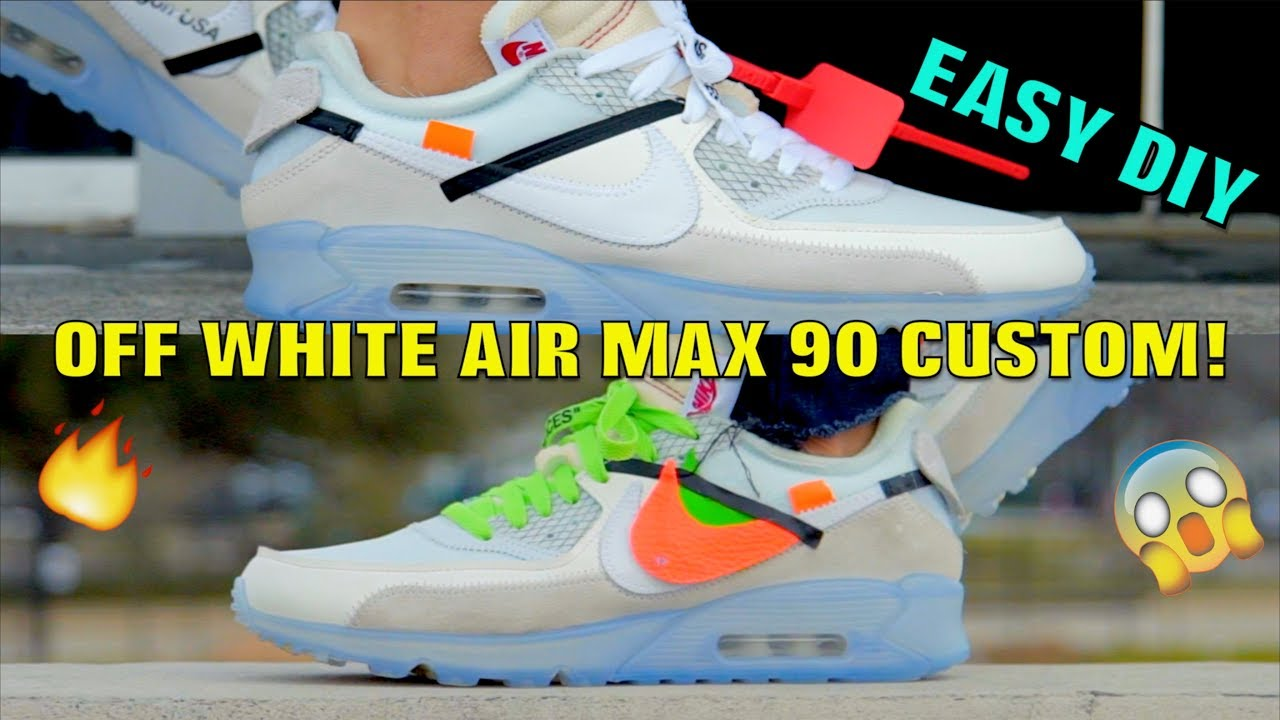 7f6a0405718 OFF WHITE AIR MAX 90 FULL CUSTOMIZATION! (MUST WATCH) - YouTube