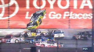 Repeat youtube video NASCAR Trucks Daytona 2017 Final Stage Finish Crafton Flips Big One