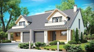 Проект загородного дома на два гаража