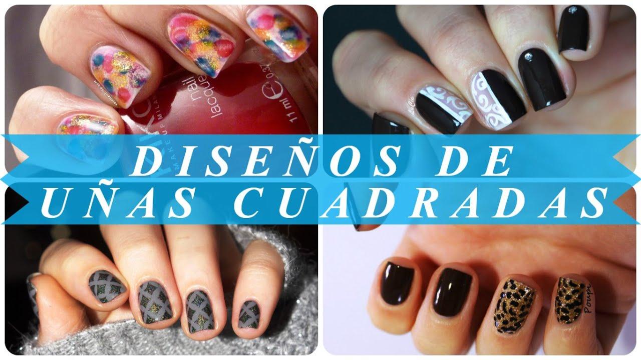 Diseños de uñas cuadradas - YouTube