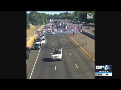 Shay Diddy - Massive Sideshow On I-5 In Sacramento Shutdown Highway