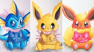 Eeveelutions - How To Draw Vaporeon, Jolteon and Flareon ( Cute Version)