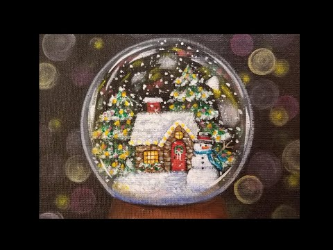 Christmas Snow Globe Cottage LIVE Acrylic Painting Tutorial