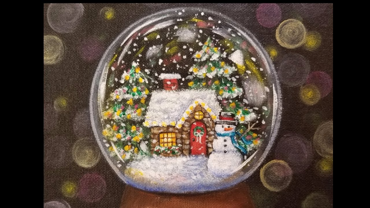 christmas snow globe cottage live acrylic painting tutorial youtube