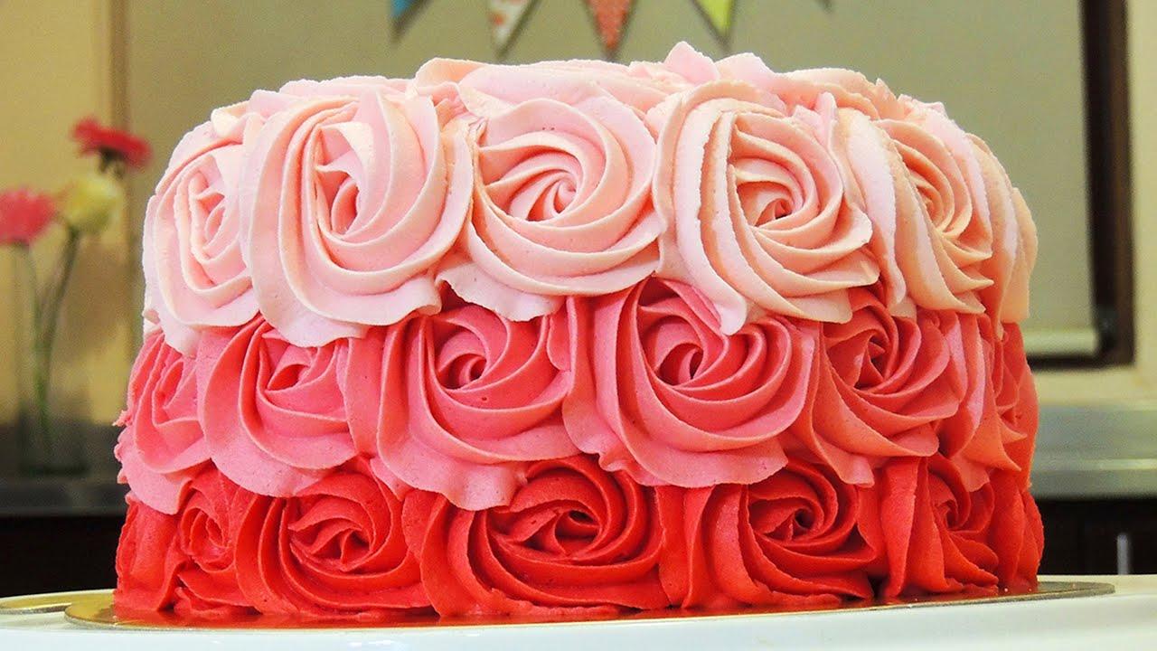 PASTEL DE ROSAS CON BETÚN DE MANTEQUILLA (Ombre Rose Cake