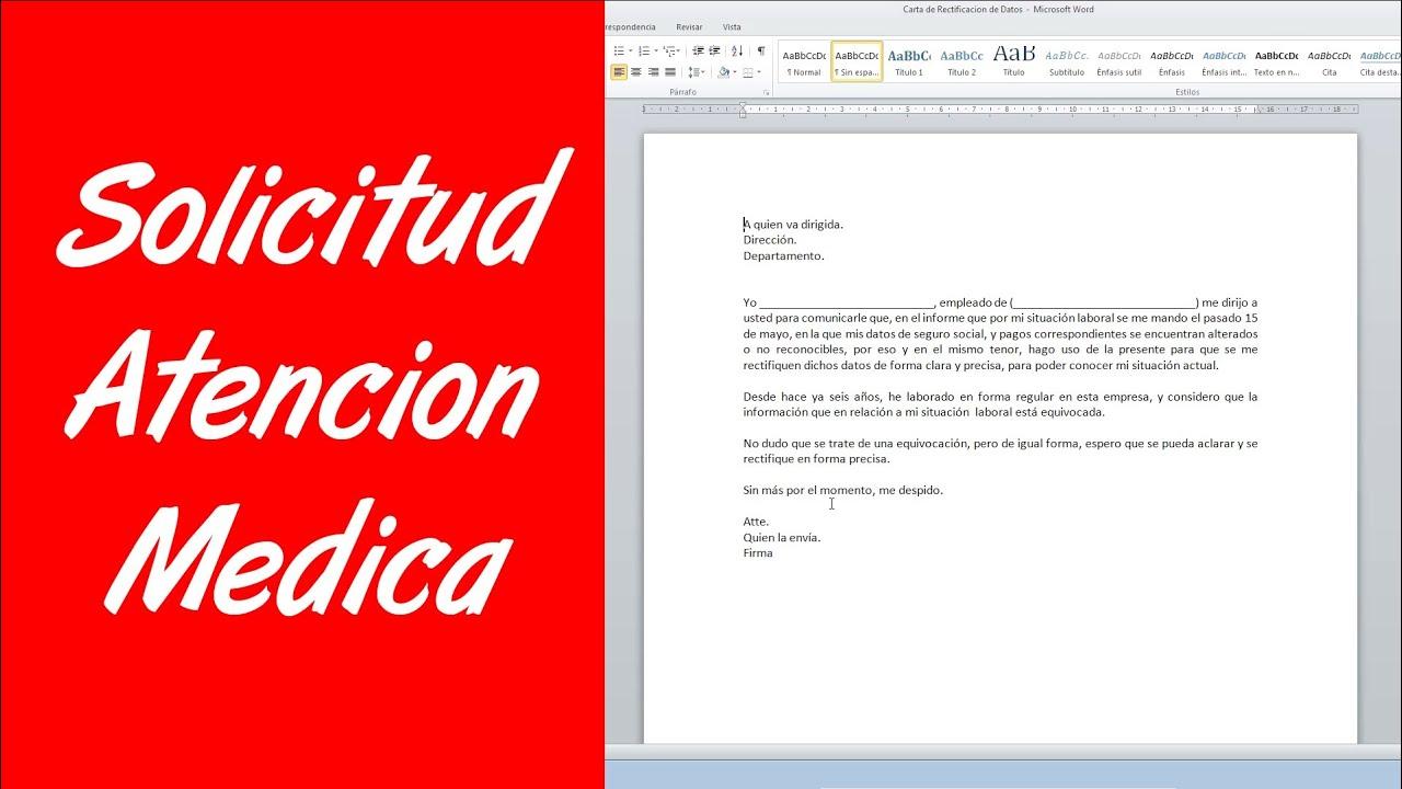 Como hacer una carta de solicitud de atenci n medica youtube - Para pedir cita para el medico de cabecera ...