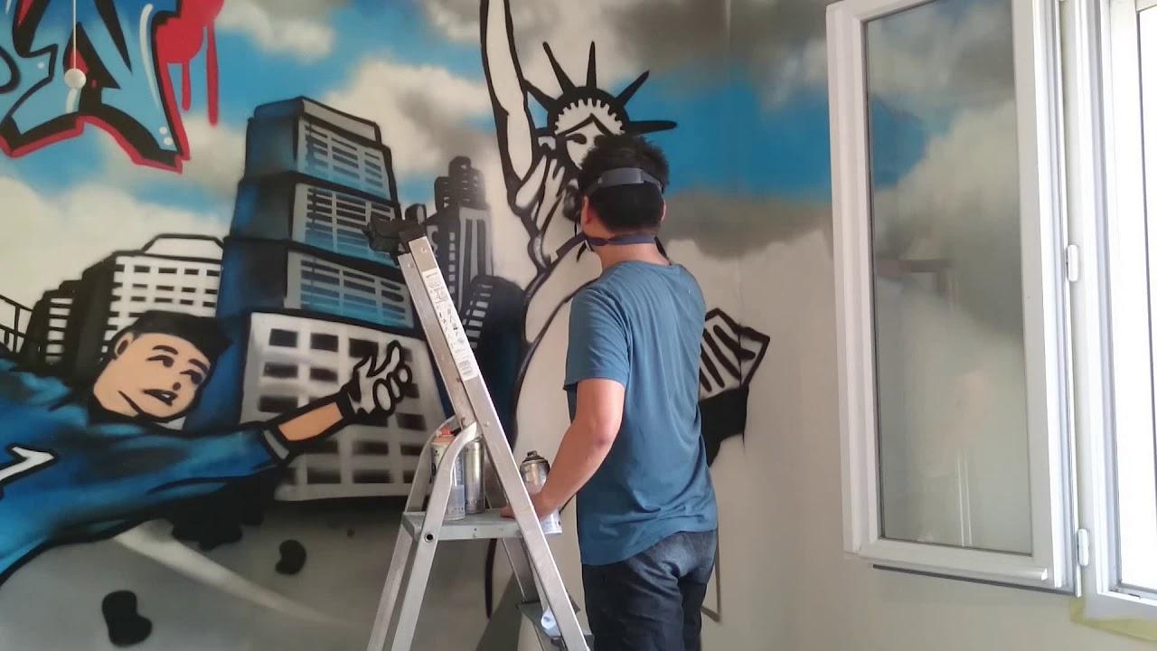 Chambre Sur Le Thème De New York décoration graffiti d'une chambre d'enfant thème football & new york