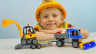 Машинки для Мальчиков ЛЕГО Сити Уборочная Техника с Рабочими 60152 Развивающее видео для детей
