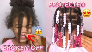 She Cut Her Hair 😩 | Beaded Style to Protect & Grow Kids Hair