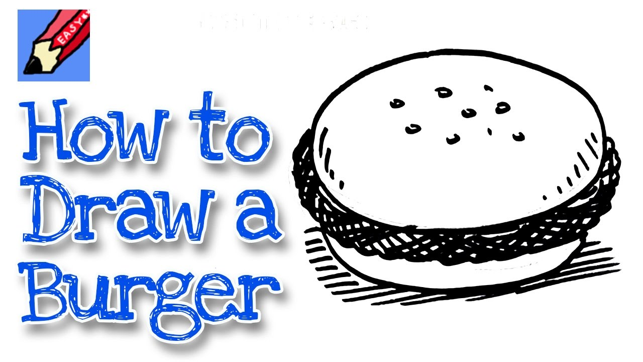 How to draw a tasty Hamburger Real Easy for kids and ...