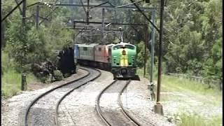Vintage diesels, GMs blast up Cowan Bank, north of Sydney.