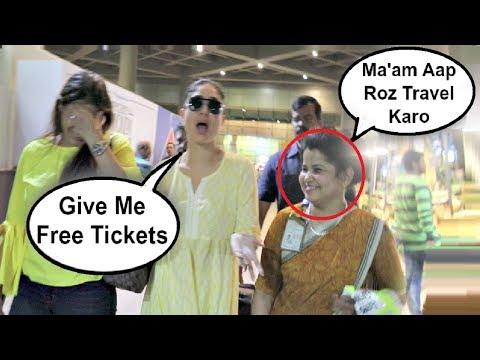 Kareena Kapoor Funny Moment With Female Airport Staff Member
