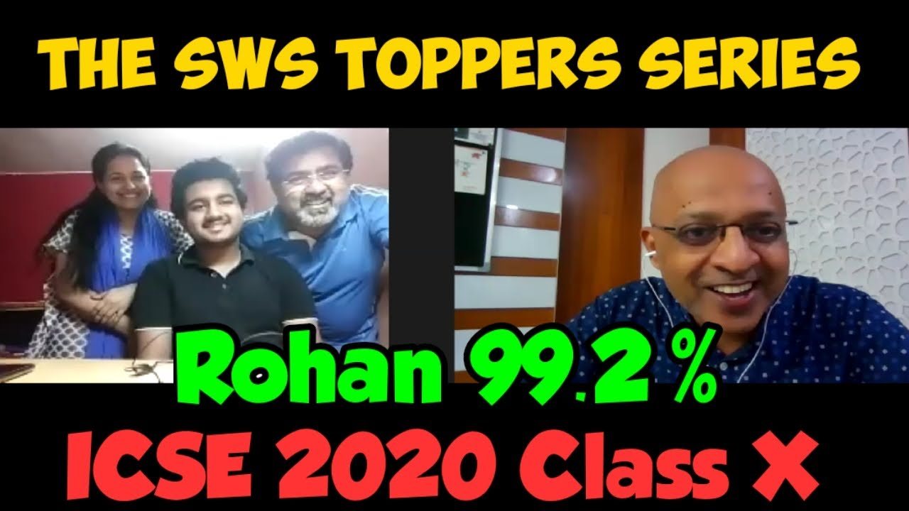 The SWS Toppers | Rohan (99.2% ICSE 2020 Batch Class 10) speaks to T S Sudhir
