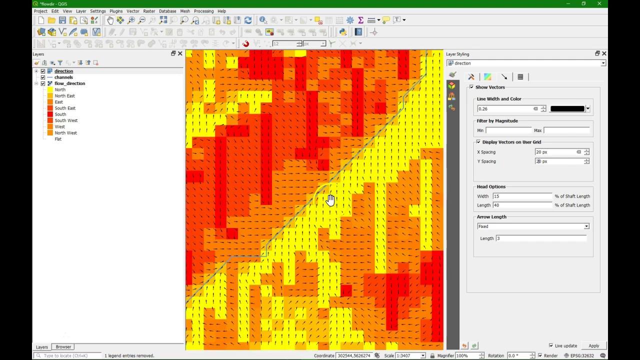 Visualisation of SAGA Flow Direction Map in QGIS - OLD