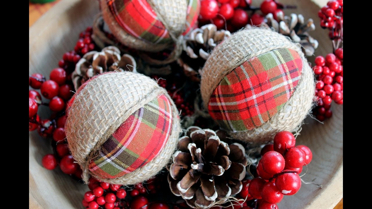 plaid and burlap christmas ornaments - Burlap Christmas Decorations