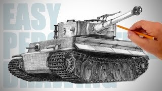 How to draw a tank - Easy Perspective Drawing 10