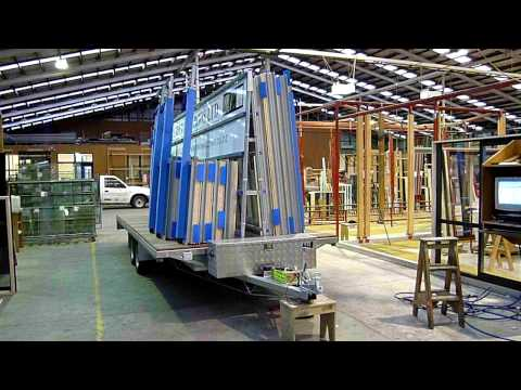 The Glass Racking Company 6M Long Window Transport Trailer loaded in factory