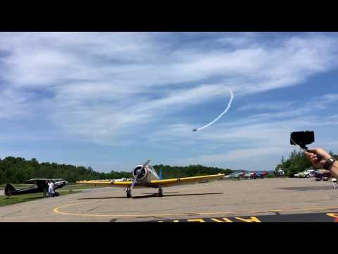 Air show pilot demonstrates the 'Cuban 8' maneuver