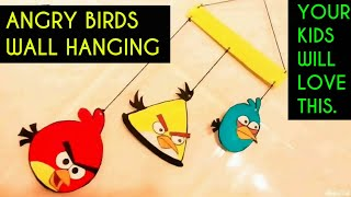 WALL HANGING ANGRY BIRDS DIY   Wall hanging for kids ! Room Decor Idea 2017   CARDBOARD WALL HANGING