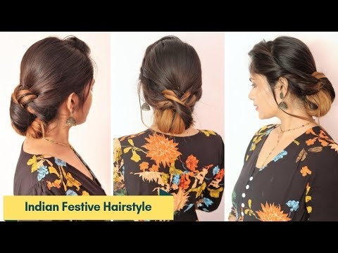 Indian Festive Hairstyle For Medium To Long Hair/Hairstyle For Diwali/Wedding/Party/ thumbnail