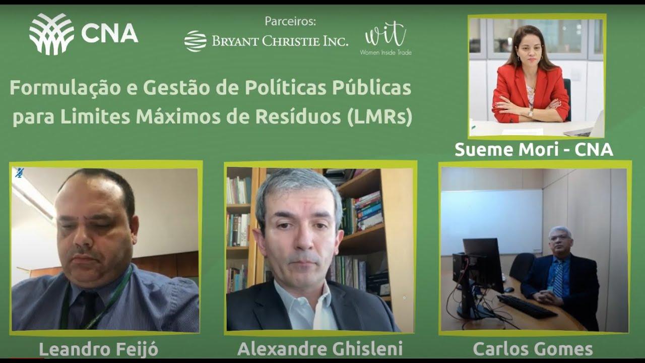 Live - Formulação e Gestão de Políticas Públicas para Limites Máximos de Resíduos (LMRs)