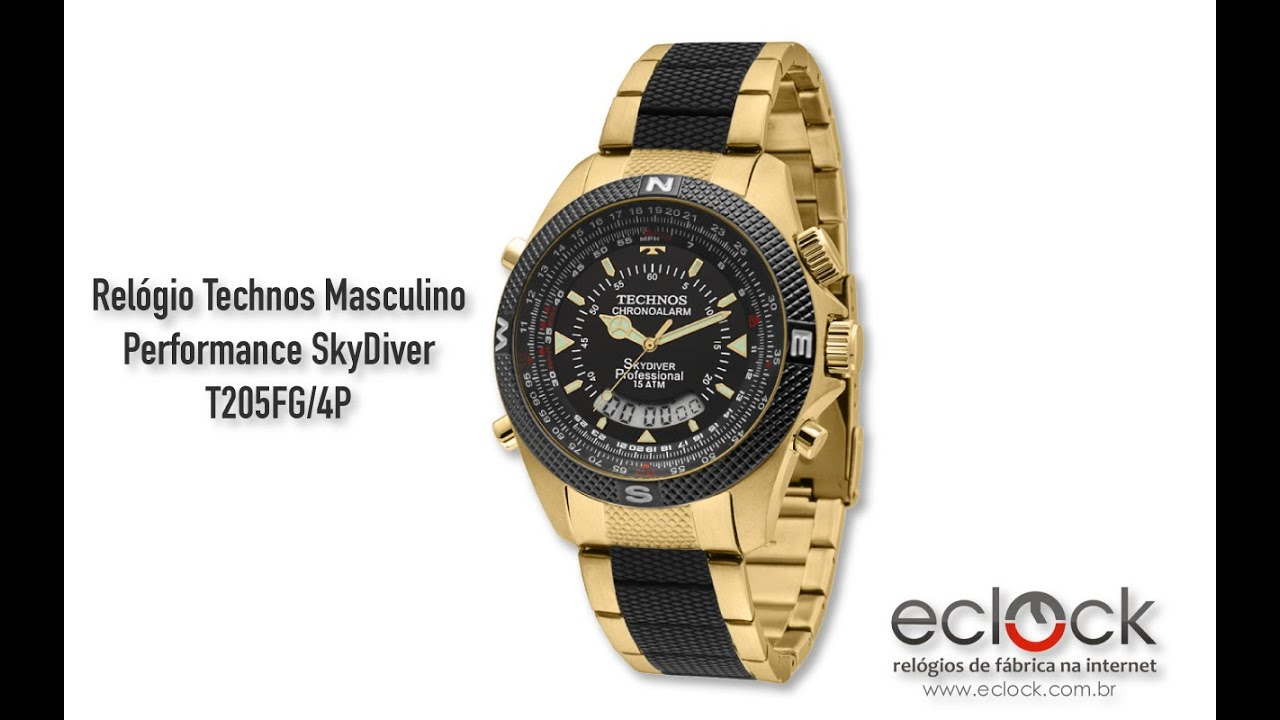 948fca29518 Relógio Technos Masculino Performance SkyDiver T205FG 4P - Eclock ...