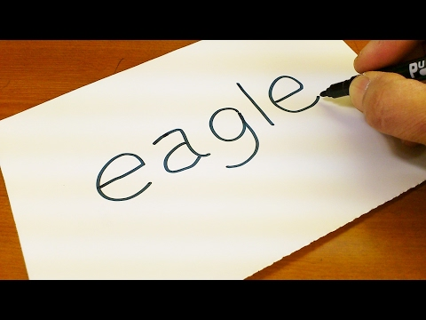 How to turn words EAGLE into a Cartoon -  Let's Learn drawing art on paper for kids