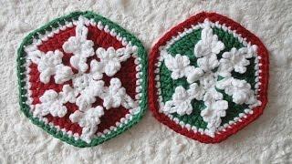 Шестиугольный мотив со снежинкой Hexagonal with snowflake motif  Crochet