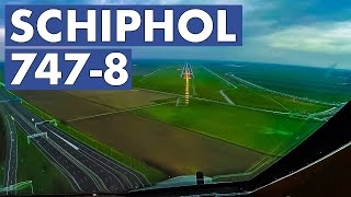 BOEING 747-8 Nose View Landing AMS Schiphol