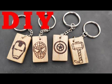 DIY Marvel Avengers Wood Keychain