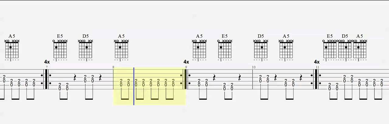 Power Chords E5 A5 D5 Easy 1 finger chords Play Along - YouTube