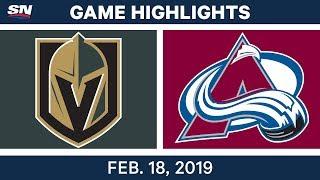 NHL Highlights | Golden Knights vs. Avalanche - Feb 18, 2019