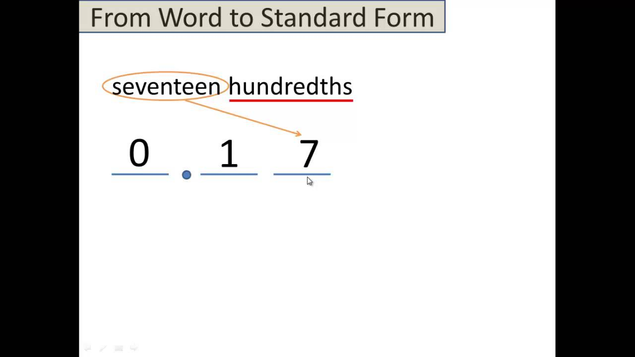 Video 3 Decimals From Words To Standard Form Youtube
