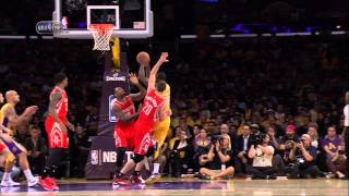 Julius Randle injury (broken leg) in NBA debut -- Rockets at Lakers