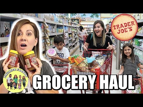 A MASSIVE TRADER JOE'S GROCERY HAUL While Having A KIDS GROCERY SHOPPING CHALLENGE | Phillips FamBam