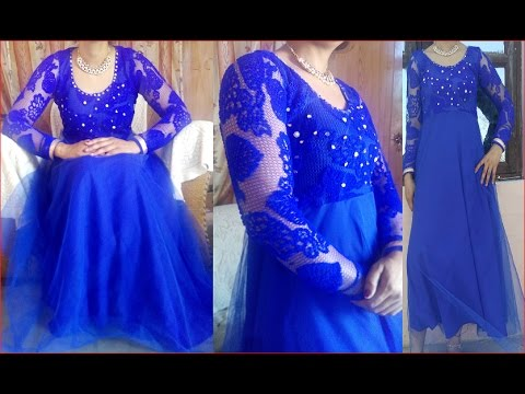Floor length long gown cutting and stitching लंबा गाउन