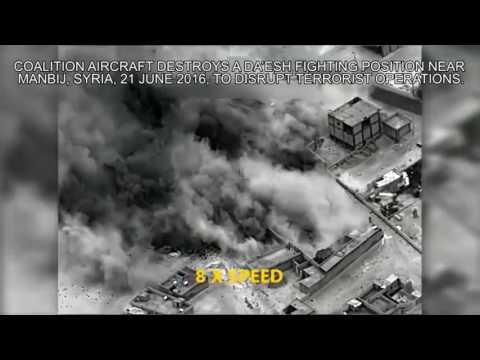 US coalition aircraft strike against ISIS near Manbij, Syria