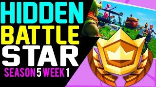 Fortnite SECRET HIDDEN BATTLE STAR LOCATION WEEK 1 Blockbuster Challenges Season 5