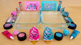 Pink vs Teal - Mixing Makeup Eyeshadow Into Slime! Special Series 77 Satisfying Slime Video
