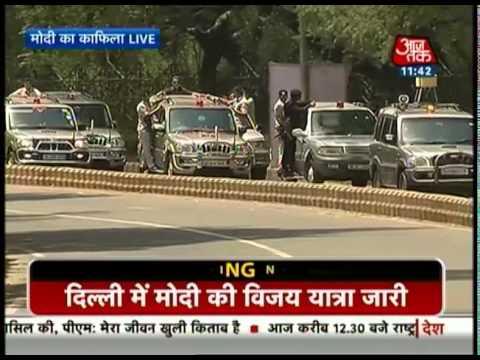 Narendra Modi's 'March of victory' in Delhi (Full)