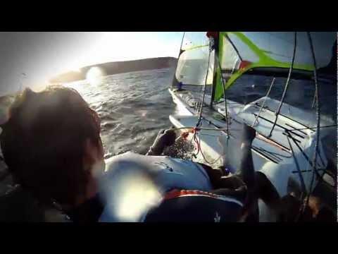 Windy 49er sailing in sydney