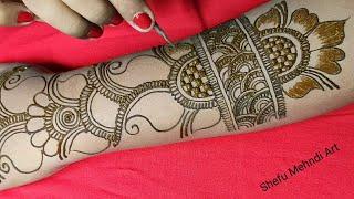 full hand shaded arabic mehndi design