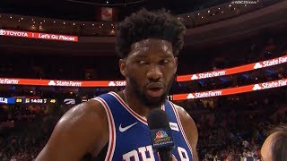 Joel Embiid Interview After The First Half Of The Game / Sixers vs Raptors